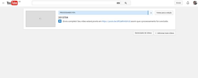Página de processamento pode ser fechada em perder o vídeo carregado (Foto: Reprodução/João Kurtz)