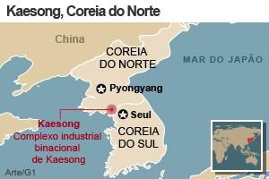 mapa coreia do norte kaesong (Foto: Arte/G1)