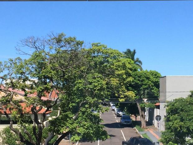 Terça-feira com temperaturas elevadas em Campo Grande e céu aberto (Foto: Isabela Cavalcante/G1 MS)
