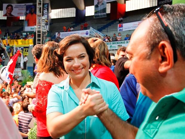 Deputada estadual durante convenção que definiu candidatura (Foto: Cacau/G1)