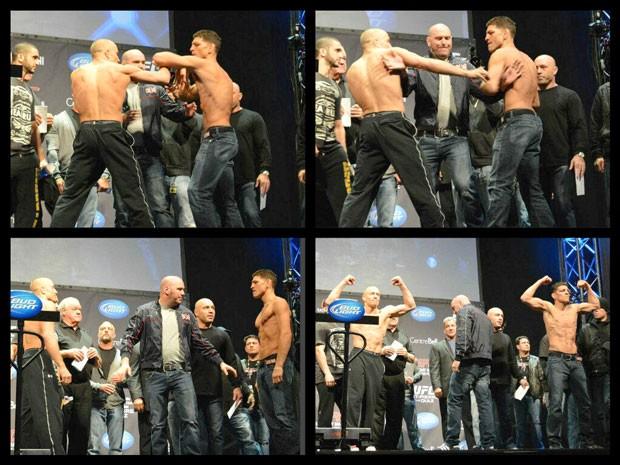 Georges St-Pierre e Nick Diaz pesagem UFC 158  (Foto: Twitter / UFC )