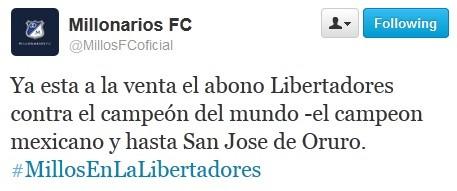 Mensagem postada pelo Twitter oficial do clube colombiano (Foto: Reprodução)