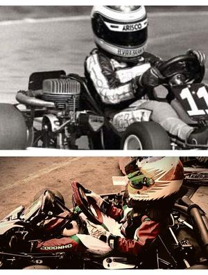 Montagem Rubens e Eduardo Barrichello aos 11 anos (Foto: Reprodução Instagram)