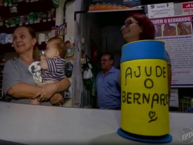 Moradores de Águas de São Pedro se unem para ajudar bebê com síndrome rara (Foto: Reprodução/EPTV)