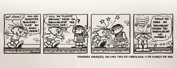 Primeira aparição da personagem Mônica, em tira do Cebolinha de 3 de março de 1963 (Foto: Divulgação / Mauricio de Sousa Produções)