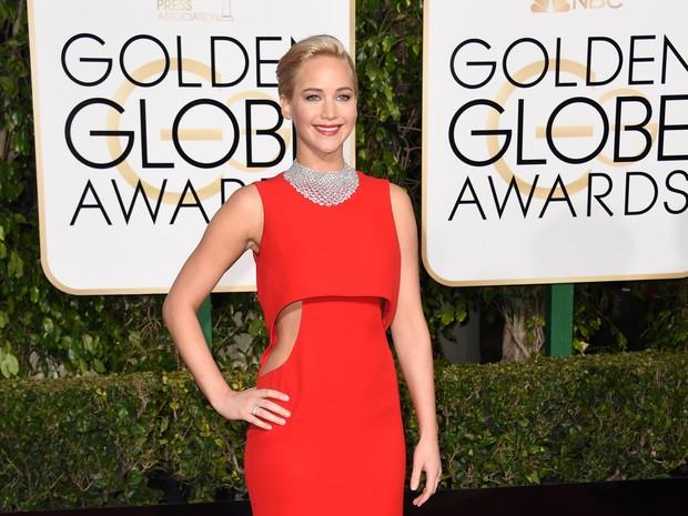 Jennifer Lawrence em premiação em Los Angeles, nos Estados Unidos (Foto: Valerie Macon/ AFP)