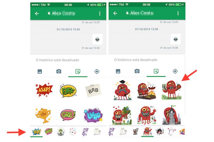 Navegando entre os pacotes de stickers para enviar um deles pelo chat do Google Hangouts para iPhone (Foto: Reprodução/Marvin Costa)