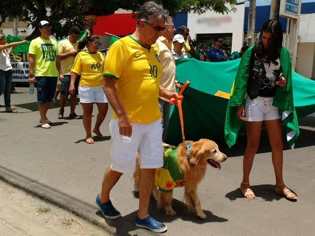 Verde e amarelo foram cores predominantes na manifestação em Garanhuns (Foto: Divulgação/Polícia Militar)