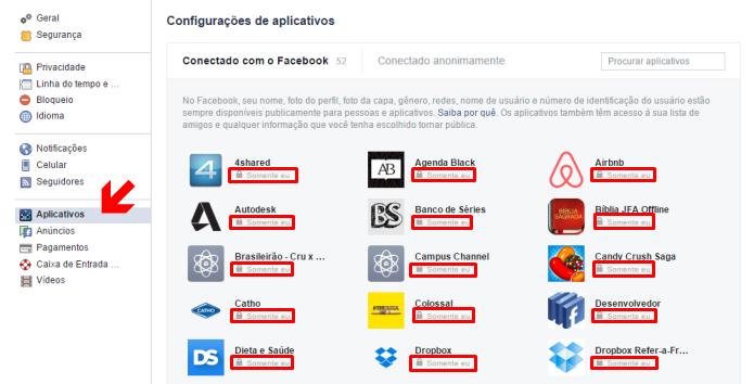 Alterando as configurações de privacidade dos aplicativos do Facebook (Foto: Reprodução/Lívia Dâmaso)