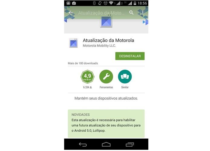 Moto G (2013) deve receber atualização para Android 5.0 Lollipop em breve (Foto: Reprodução/Matheus Vasconcellos)