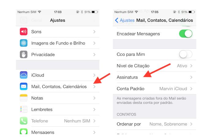 Configurando uma assinatura de e-mail no Mail do iOS (Foto: Reprodução/Marvin Costa)