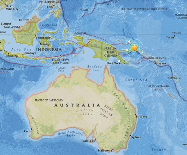 Mapa mostra o local do terremoto (Foto: Reprodução / USGS)