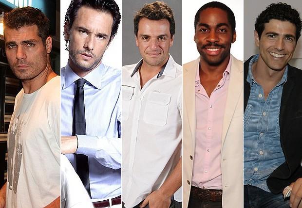 Thiago Lacerda; Rodrigo Santoro; Rodrigo Lombardi; Lázaro Ramos e Reynaldo Gianecchini (Foto: Agnews e Divulgação)