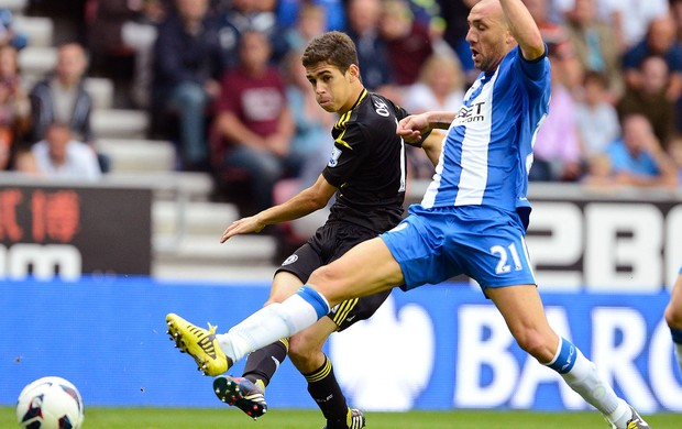 Oscar na partida do Chelsea contra o Wigan (Foto: Reuters)