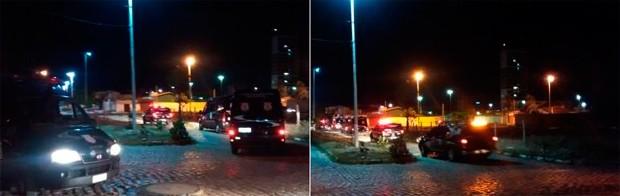 Comboio com presos de Santa Catarina chegou a Mossoró já no início da noite (Foto: Marcelino Neto/G1)