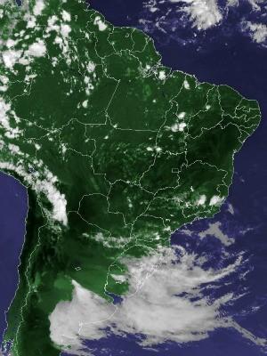 Imagem de satélite capturada na tarde desta segunda-feira (29) (Foto: Reprodução/Cptec/Inpe)