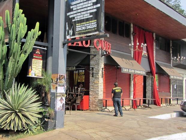 Bar na quadra 108 Sul, em Brasília, foi interditado na manhã desta quarta (12) por poluição sonora (Foto: Beliomar Nunes/Seops)