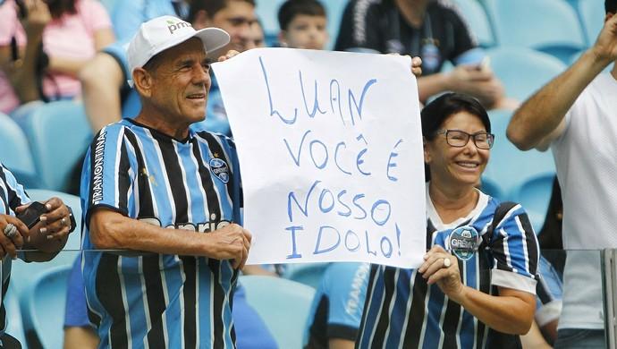 Grêmio x Glória Arena do Grêmio cartaz Luan grêmio (Foto: Lucas Uebel/Divulgação)
