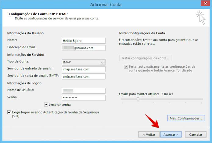 Finalizando configuração da conta iCloud (Foto: Reprodução/Helito Bijora)