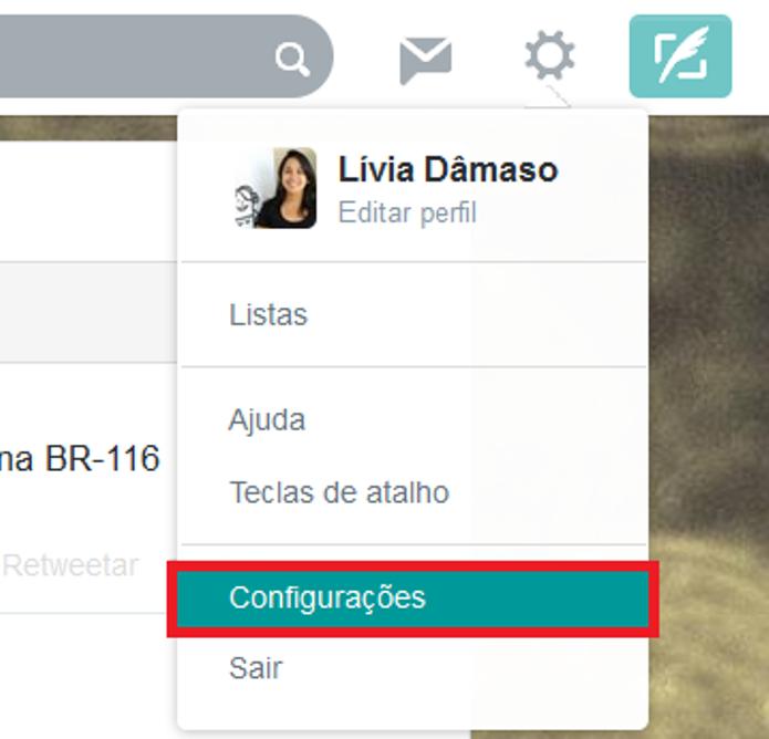 Atalho para as configurações do Twitter (Foto: Reprodução/Lívia Dãmaso)