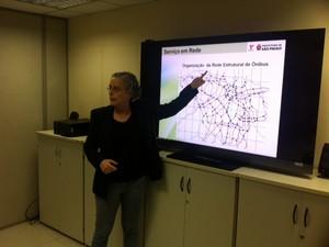 Diretora da SPTrans fala sobre mudanças em linhas de ônibus (Foto: Márcio Pinho/G1)