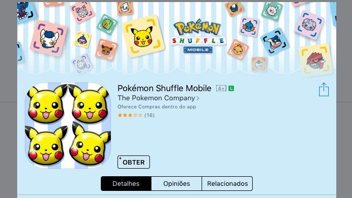Na página do Pokémon Shuffle na App Store, clique em Obter para fazer o download (Foto: Reprodução/Tais Carvalho)