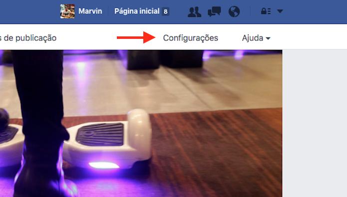 Acesso à tela de configurações de uma página do Facebook (Foto: Reprodução/Marvin Costa)