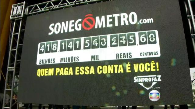 Sonegômetro no Masp (Foto: Reprodução/TV Globo)