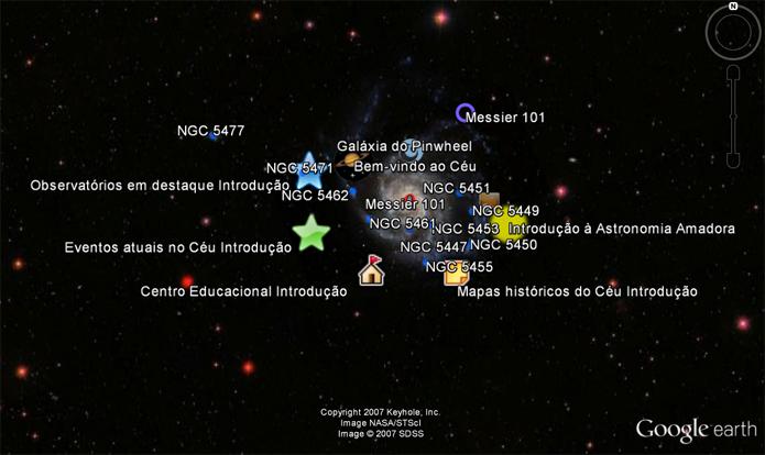 Mapa estelar mostra nomes de estrelas e dá informações sobre astronomia (Foto: Reprodução/Google Earth)