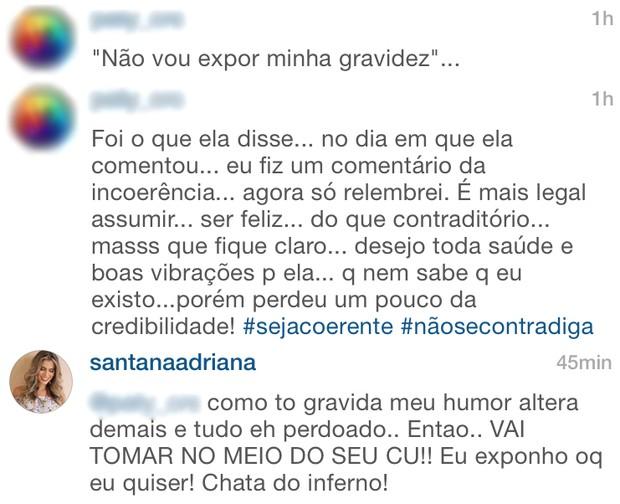 Adriana Santana discute com fã na web (Foto: Instagram / Reprodução)