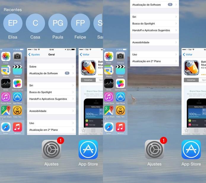 Para encerrar os aplicativos em uso, dê um clique duplo no botão de desbloqueio e arraste os apps para cima (Foto: Reprodução/Juliana Pixinine)