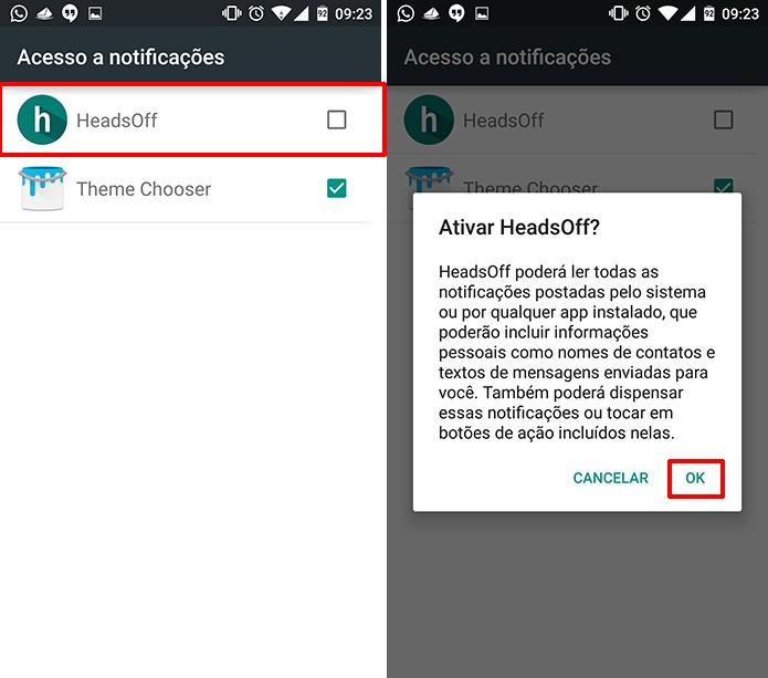 HeadsOff deve ser marcado para que Android Lolliopop comece a exibir notificações do app (Foto: Reprodução/Elson de Souza)