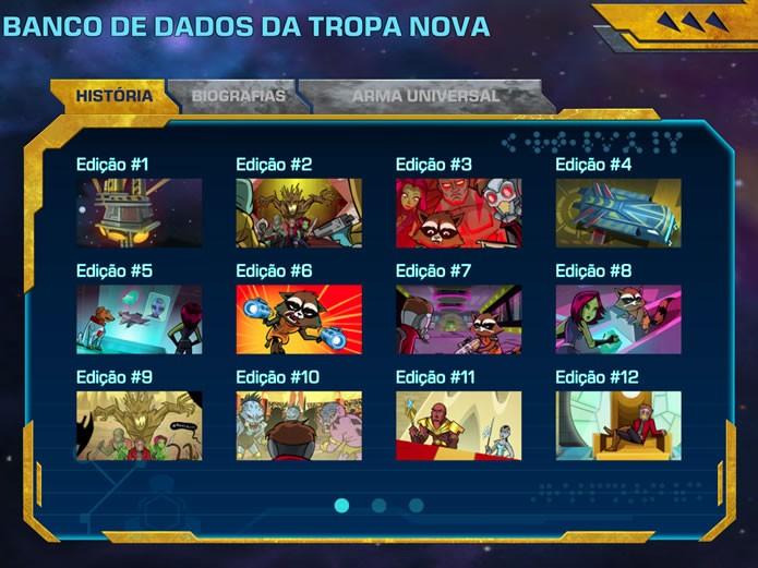 O game possui um ambiente para acessar os quadrinhos sobre a história e a biografia de seus personagens (Foto: Reprodução/Daniel Ribeiro)