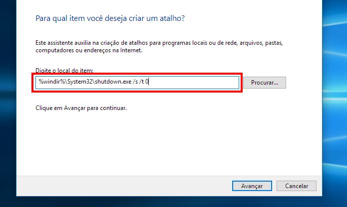 Crie um atalho para desligar o PC (Foto: Reprodução/Paulo Alves)