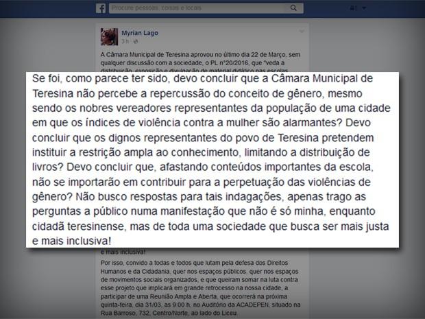 Promotora se diz contraria a proposta e chama sociedade para debate  (Foto: Reprodução/Facebook)