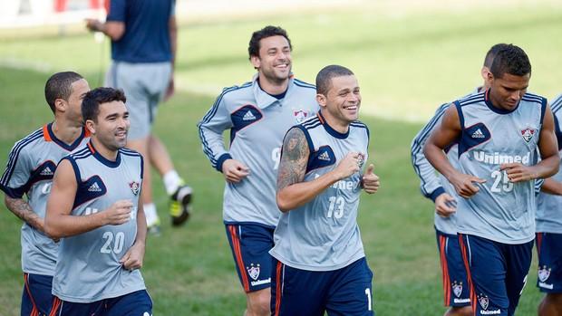 Deco, Fred, Edinho, Anderson, treino fluminense (Foto: Dhavid Normando / Photocamera)