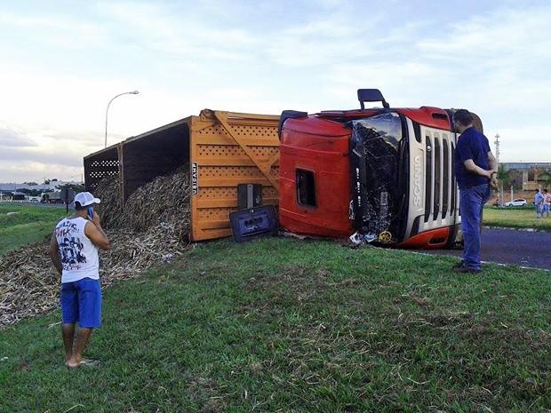 Carga ficou espalhada em gramado ao lado de acostamento (Foto: Leandro Silveira/Panorama Notícia)