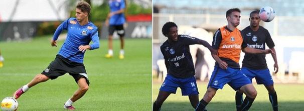 Jogadores do Santos e do Grêmio treinam para jogo de sábado (Foto: Reprodução: Globoesporte.com)