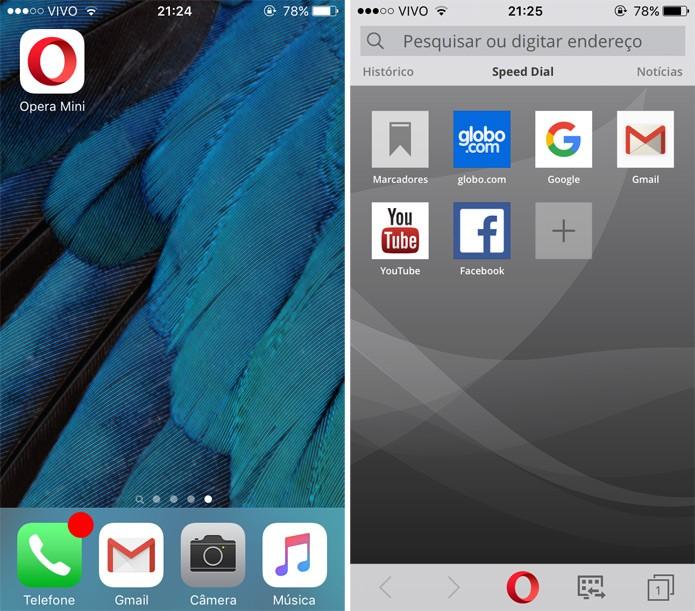 Abra o Opera Mini e toque no símbolo do navegador (Foto: Reprodução)
