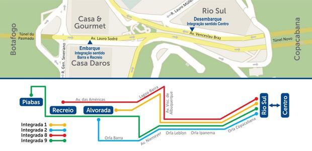 Mapa das mudanças nos ônibus no Rio (Foto: Reprodução / Prefeitura do Rio)