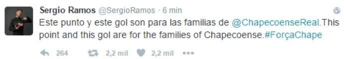 BLOG: Sergio Ramos dedica empate e gol em clássico para a família Chapecoense