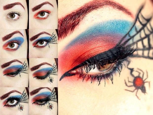 Publicitária mostra detalhes da maquiagem de Homem-Aranha (Foto: Mariana Ferreira/ Arquivo Pessoal)
