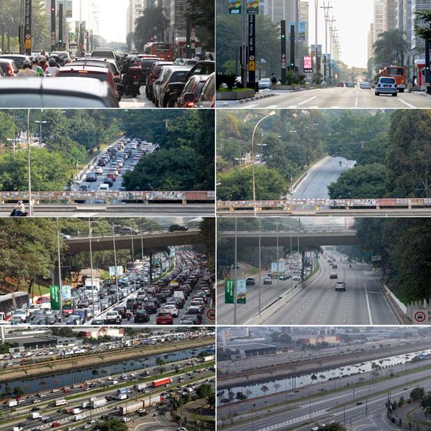 Trânsito antes e depois do jogo Brasil x México: Av. Pauista, Av. Sumaré, 23 de Maio e Marginal Tietê. (Foto: Estadão Conteúdo)