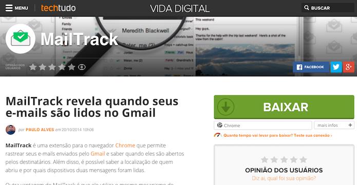 Acesse a página de downloads do MailTrack (Foto: Reprodução/Helito Bijora)
