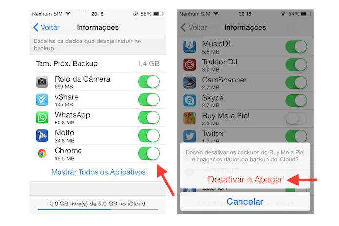 Desativando o backup de determinados aplicativos do iOS no iCloud (Foto: Reprodução/Marvin Costa)
