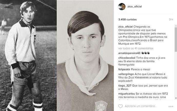 Zico postagem Instagram Messi