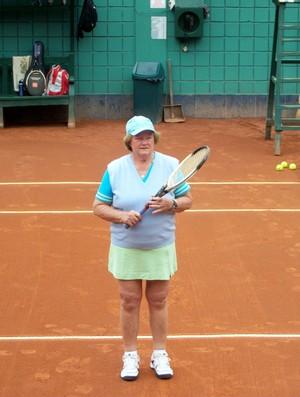 Frida no torneio de Tênis, no Peru (Foto: Arquivo Pessoal)