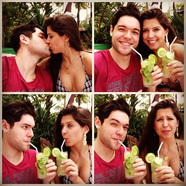 Nasser e Andressa experimentam caipirinha (Foto: Reprodução_Instagram)