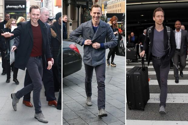 Tom Hiddleston: três momentos diferentes, mesma bota (Foto: AKM-GSI)