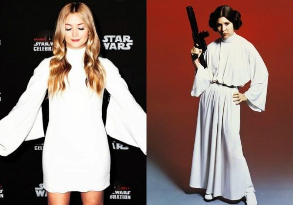 Billie Lourd com vestido inspirado na Princesa Leia (Foto: Reprodução Instagram/Divulgação)
